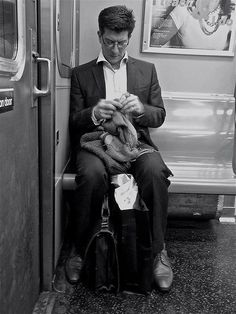 Cool image from Downtown Yarns- knitting on the L train, NYC
