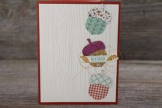 Adorable fall thank you card using Stampin' Up! Acorny Thank you Bundle and Woodgrain embossing folder