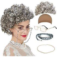Childrens Kids Granny Grey Wig Glasses Beads Mask Funny Gangsta Grandman Woman