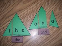 Christmas Tree Sight Word Puzzles - could change this up a bit for phonics/spelling. Have different colored trees for each word. Students have put picture puzzle together to spell word and record on paper Teaching Sight Words, Sight Word Practice, Sight Word Activities, Classroom Activities, Word Games, Classroom Ideas, Kindergarten Centers, Kindergarten Reading, Teaching Reading