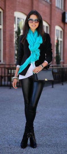 #winter #fashion / aqua + leather