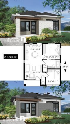 Discover the plan - Sanaa from the Drummond House Plans house collection. Small and affordable Modern style house, ideal for first-home buyers, 2 bedrooms, open floor plan layout. Total living area of 629 sqft. Small House Layout, House Layout Plans, Floor Plan Layout, Tiny House Design, House Layouts, Modern House Design, House Design Plans, Sims 4 Houses Layout, House Layout Design