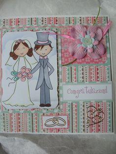 Biglietto matrimonio auguri congratulazioni sposini rosa verde pastello con fiori e decorazioni., by The Bristol craft shop, 4,00 € su misshobby.com