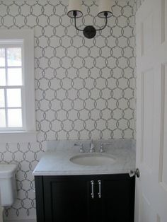 Schumacher Tracery wallpaper. An option? Master bath. Comes in a few colors.