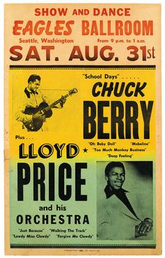 Vintage Rock & Roll Show Chuck Berry Concert Poster Re-Print Rock And Roll, Rock & Pop, Rock N Roll Music, Vintage Rock, Vintage Music, Vintage Concert Posters, Vintage Posters, Vintage Ads, Norman Rockwell