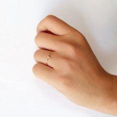 DiamantVerlobungsring DreieckDiamantRing 14k Gold von artemer