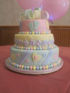 Superb Baby Shower Cake   All Pastel Colors, Baby Shower Cake