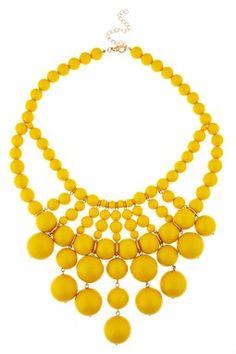 Yellow beaded bib necklace