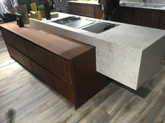 Floating marble island mixed with a lower countertop - Home Decorating Trends - Homedit