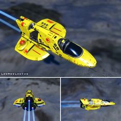 No Man's Sky Coordinate Exchange wingless droid jet in yellow with red trim. The colors remind me of the Taidan ships from Homeworld. Concept Ships, Concept Cars, Roger Dean, Star Ship, No Man's Sky, Sci Fi Ships, Model Building, Best Games, Airplanes