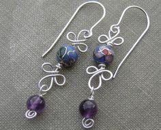 Blue Cloisonne and Amethyst  Dangle Sterling Silver Wire Earrings - Stone Beads Spirals and Swirls, Women, Jewelry, Earring, Jewellery