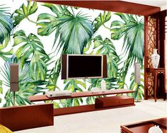 beibehang Custom mural fresh green banana leaf painting background wall wallpaper for walls 3 d papier peint photo wallpaper Wallpaper Door, Cheap Wallpaper, Photo Wallpaper, Wallpaper Backgrounds, Wallpaper Jungle, Leaves Wallpaper, Window Cling Vinyl, Jungle Flowers, Door Murals