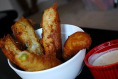 Fried Pickles and other recipes from the Roof Restaurant Cookbook The Roof Restaurant, Restaurant Recipes, Food Dishes, Side Dishes, Dining Buffet, Fried Pickles, Other Recipes, Dupes, Fine Dining