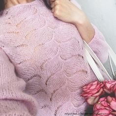 Havent clicked this link so i have no idea if this even leads to a pattern, but SOO PRETTY! Lace Knitting Stitches, Hand Knitting, Knitting Patterns, Knitting Ideas, Summer Knitting, Powder Pink, Pink Sweater, Jumper, Leg Warmers