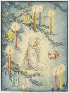 'The Christmas Tree' - Mary and Baby Jesus and Christmas Tree Candles and Baubles. Christmas card.