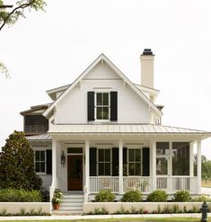 Architecture Love this house! My dream house white farmhouse with wrap around porch Cabin :) White Cottage, White Farmhouse, Farmhouse Style, Cottage Style, Cottage House, Farmhouse Shutters, Exterior Shutters, Farmhouse Plans, Farmhouse Decor