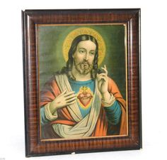 ANTIQUE ART DECO 30s SACRED HEART OF JESUS POLISHED ORNATE MAHOGANY RELIGIOUS #ArtDeco