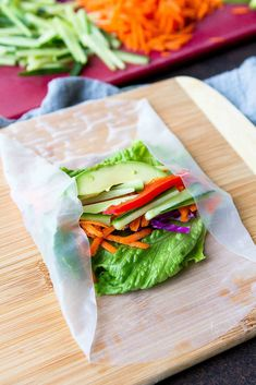 This vegetable spring roll recipe is a breeze to make and is made even better with a peanut dipping sauce. #veganrecipes #cabbage #avocado