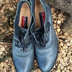 """Denim Blue LE CUIR Booties A must have pair of booties. Very comfortable and in great condition. Laced up front, wedged heel, leather and denim blue in color 3"""" wedged heel LE CUIR Shoes"""