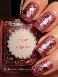 Etsy seller All That Glitters nail polish in Dear Hearts over The Face Shop Hologram PP401. I'd like to try Dear Hearts by itself.
