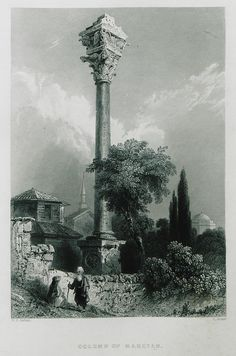 Column Of Marcian (Time Of The Lower Empire) Istanbul Turkey Engraved By H Adlard After WH Bartlett Canvas Art - Ken Welsh Design Pics x Engraving Printing, Oil Painting Texture, Istanbul Travel, Roman Emperor, City Landscape, Oil Painting Reproductions, Grand Tour, Istanbul Turkey, Ancient Rome