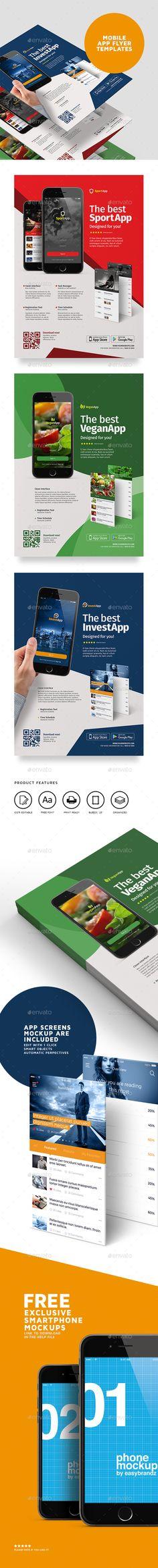 Mobile App Flyer Design Template Vol.01 - Commerce Flyer Template PSD. Download here: http://graphicriver.net/item/mobile-app-flyer-template-vol01/16473658?s_rank=916&ref=yinkira