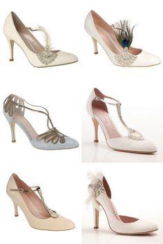 Estes são alguns modelos de sapatos para casamentos no estilo Art Deco, 1920.