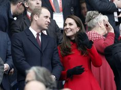William and Kate take in a rugby match Saturday between