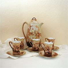 Vintage Chocolate Pot Set Five Demi Cup Saucer Ruffled Edges R S Germany Brown Cream Handpainted Floral