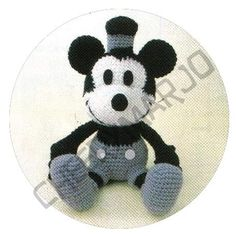 Crochet doll amigurumi PDF pattern - Classic Mickey Mouse Steamboat Willie. $6.00, via Etsy.