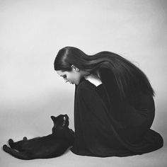 Casstronaut and black cat Magic Women, Photo Viewer, Foto Art, Cat People, Crazy Cat Lady, Black And White Photography, Animals And Pets, Cats And Kittens, Kitty Cats
