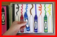 KhadeCreativa.com Busy Book and/or Folder: Matching Colors Crayons. For a felt version, Id use ric rac for the scribbles. source by :http://pinterest.com/pin/107030928617711257/
