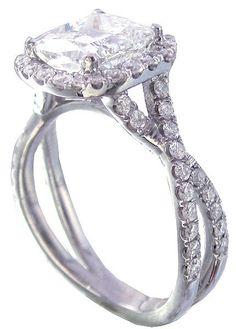 18k white gold cushion cut diamond engagement ring halo by KNRINC, $8299.00