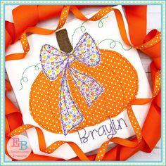 Big Bow Pumpkin Applique Design