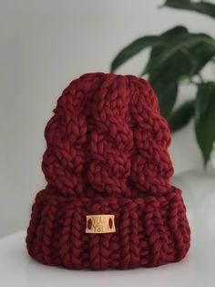 f0474d2e Women's wool knit hat, Knit Beanie, Big yarn Knit Womens Winter Hat with  Pom Pom, Unisex Ski Hat
