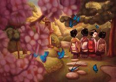Benjamin Lacombe réinterprète ce drame amoureux et nous entraîne dans un Japon révolu, à la beauté et l'exotisme intacts, narré à la première personne par un Pinkertown rongé par le remord d'avoir brisé les ailes de la délicate femme papillon.