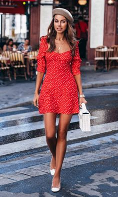 Don't Fight The Feeling Red White Polka Dot Pattern Short Ruffle Sleeve Square Neck A Line Flare Casual Mini Dress - Sold Out Red Polka Dot Skirt, Polka Dot Shorts, Paris Outfits, Summer Outfits, Cowgirl Style Outfits, Tank Top Outfits, Girl Fashion, Fashion Outfits, Aesthetic Clothes