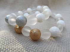 White faceted shell clear sea glass and bumpy by littlecrowshop, $17.00