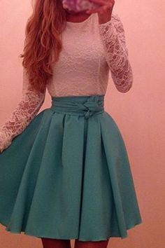 Modest prom dress, short prom dress, cute lace satin prom dress with sleeves