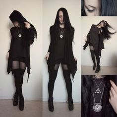 Source:nikolinex - Cardigan from Primark, Tank top and thigh highs from H&M, Shorts of unknown origin, Shoes from Din sko, Awesome time turner and deathly hallows necklaces from Ebay
