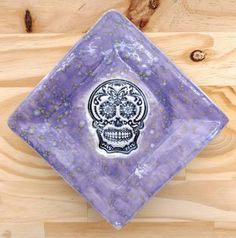 A bright purple splattered platter with a sugar skull in black and white. Facebook Likes, Bright Purple, Platter, Art Forms, Polymer Clay, My Etsy Shop, Beads, Check, Beading