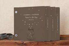 """Fireflies"" - Rustic, Vintage Minibook Wedding Invitations in Zuni Brown by cadence paige design."