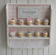 Miniature Artisan Cupcakes and Bakery Shelf by CynthiasCottageShop