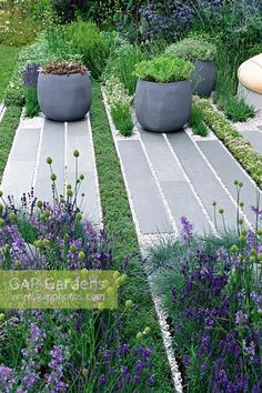 Grey stone pathway interplanted with lines of thyme. Pots of succulents and borders planted with lavender Grey stone pathway interplanted with lines of thyme. Pots of succulents and borders planted with lavender and ornamental grasses Landscaping With Rocks, Modern Landscaping, Front Yard Landscaping, Landscaping Ideas, Back Gardens, Outdoor Gardens, Landscape Design, Garden Design, Garden Features
