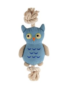 Simply Fido - Basics Joe Owl Rope Toy Adorable Owl Shaped Rope Toy With Squeaker Provides A Healthy Alternative For Your Loving Companions and Promotes Safe and Fun Play! Certified Non Toxic Natural Cotton Fabric Low Eco Impact Dye Process Environmentally Friendly Filled With Recycled Fiber & Cotton.