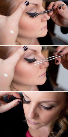 Do you want long thick luscious lashes? Are you horrible at applying false eyelashes? Check out this simple tut, and youll see what I mean. Kiss Makeup, Hair Makeup, Beauty Secrets, Beauty Hacks, Beauty Tips, Beauty Make Up, Hair Beauty, Fake Lashes, False Eyelashes