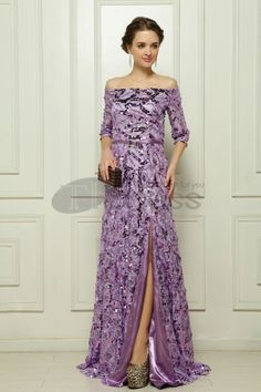 Dresses in Stock-The sequins Malay satin purple evening dress