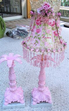 Pair of Candy Pink Lamps   Sheris Crystal Designs