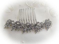 Slim vintage deco bridal hair side comb silver rhodium colour rhinestone wedding bridesmaid 1920's 1930's
