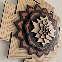 Sri Mandala Natural, Red and Black Wood Stained - Sri Yantra, Metatron's Cube - Sacred Geometry
